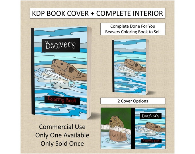 Complete Beavers Book Cover Design + Interior Premade Book For KDP Publishers Amazon Coloring Book Interior Plus Cover Template KDP Bundle