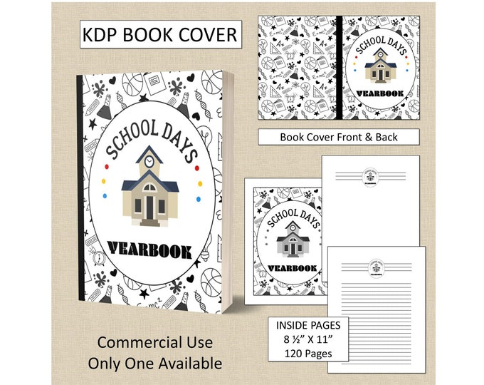 Childrens Kids Yearbook Book Cover Design Premade KDP Book Cover Kindle Cover Template Amazon Book Cover Premade Book Cover Designs