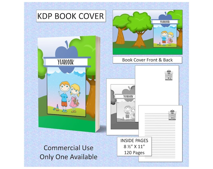 Cute Kids Yearbook Book Cover Design Premade KDP Book Cover Kindle Cover Template Amazon Book Cover Premade Book Cover Designs