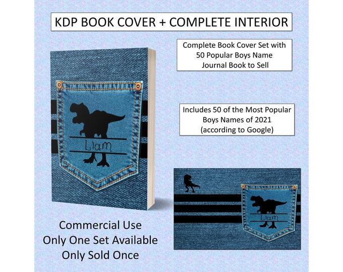 Complete Dinosaur Boys Names Journal Book Cover Design + Interior Premade Book Cover For KDP Publishers Amazon Book KDP Cover KDP Bundle