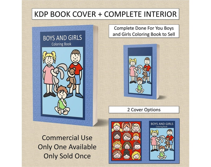 Boys and Girls Coloring Book Set Cover + Interior Premade Book For KDP Publishers Coloring Book Interior KDP Bundle Commercial Use