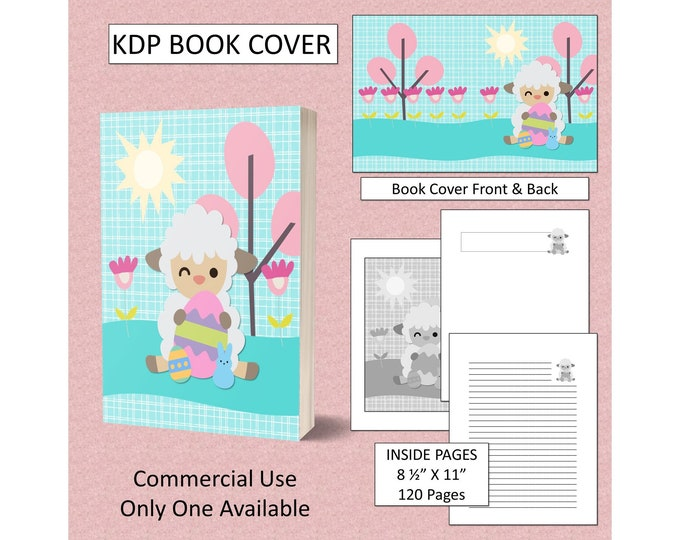 Easter Lamb KDP Book Cover Kindle Cover Template KDP Cover Premade Book Covers Amazon KDP Book Covers Digital Book Cover Commercial Use