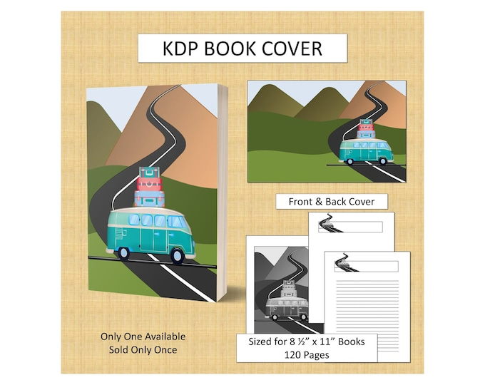 Vacation Van Book Cover Road Trip Book Cover for KDP Journal Cover KDP Notebook Cover for Driver Book Cover Commercial Use