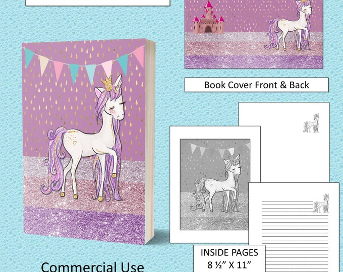 Glitter Unicorn Kids KDP Book Cover Kindle Cover Template KDP Cover Premade Book Covers Amazon Book Covers Digital Book Cover Commercial Use