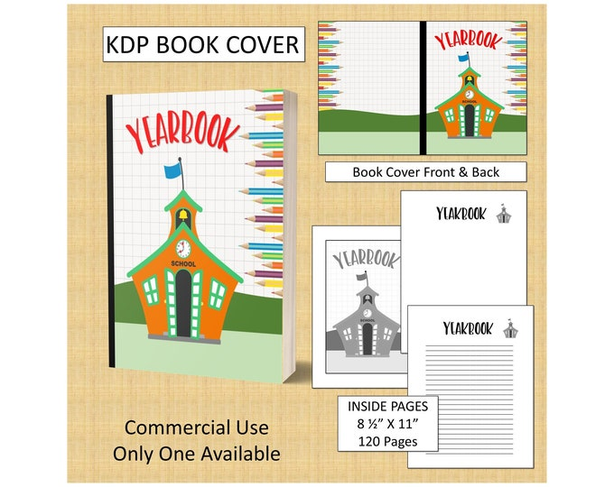 Kids Yearbook Book Cover Design Premade KDP Book Cover Kindle Cover Template Amazon Book Cover Premade Book Cover Designs Commercial Use