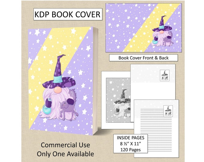 Gnome Wizard Cover Design KDP Book Cover Kindle Cover Template KDP Cover Premade Book Covers Amazon KDP Book Covers Digital Book Cover