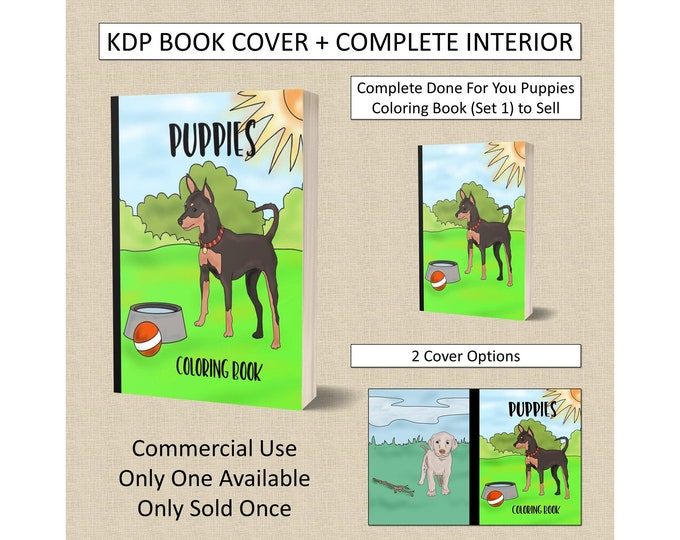 Complete Puppies Coloring Book Cover Design + Interior Premade Book For KDP Publishers Amazon Book Plus Interior Kindle Template KDP Covers
