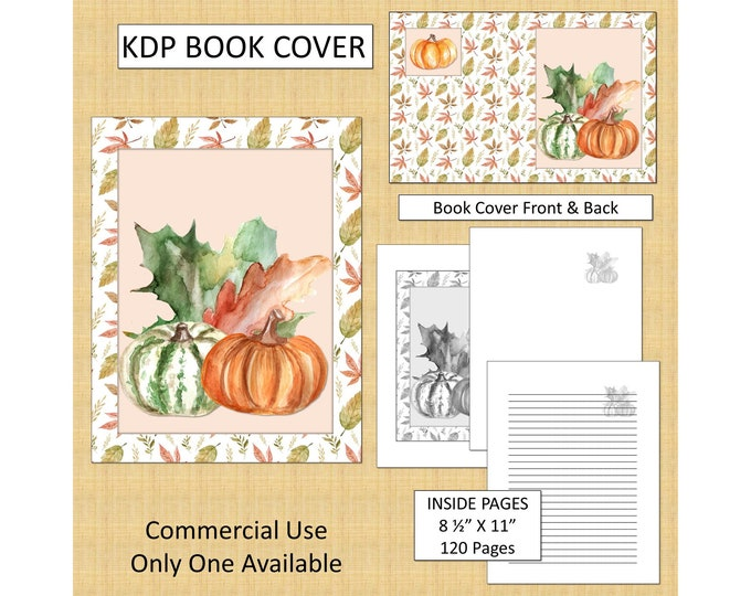 Thanksgiving Pumpkin Cover Design KDP Book Cover Kindle Cover Template KDP Cover Premade Book Covers Amazon KDP Book Covers