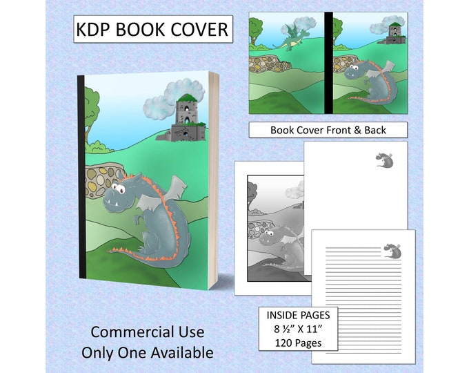 Cartoon Dragon Cover Design KDP Book Cover Kindle Cover Template KDP Cover Premade Book Covers Amazon KDP Book Covers Digital Book Cover