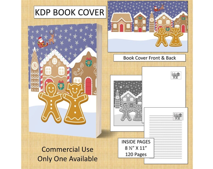 Christmas Gingerbread Man Cover Design KDP Book Cover Kindle Cover Template KDP Cover Premade Book Covers Amazon KDP Book Covers