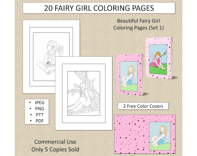 20 Fairy Girl Coloring Pages (Set 1) For KDP Commercial Use Fairies Coloring Pages