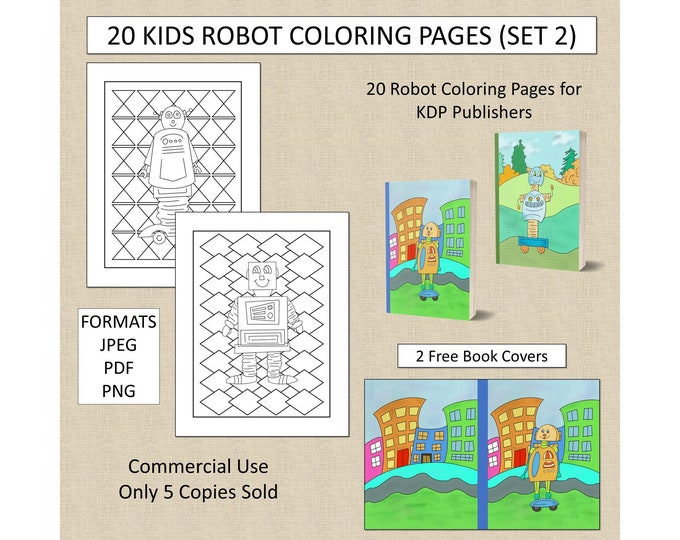20 Robot Theme Coloring Pages (Set 2) For KDP Commercial Use Robot Coloring Pages