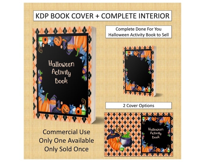 Complete Halloween Activity Book Cover Design + Interior Premade Book For KDP Publishers Amazon Book Kindle KDP Cover