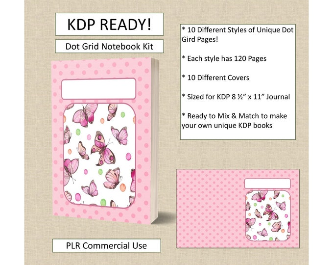 Complete KDP Kit For Dot Grid Notebook Templates With 10 Book Covers Instant Download Ready to Upload Low Content Publishing KDP Publishing