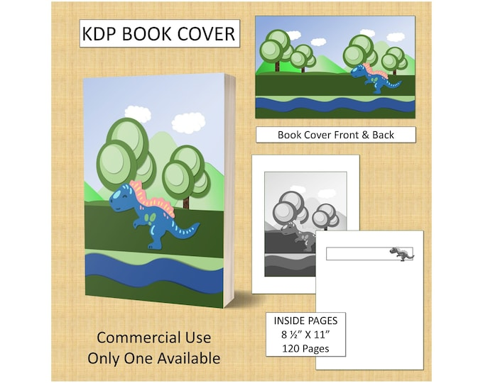Dinosaur Cover Design KDP Book Cover Kindle Cover Template KDP Cover Premade Book Covers Amazon KDP Book Covers Digital Book Cover