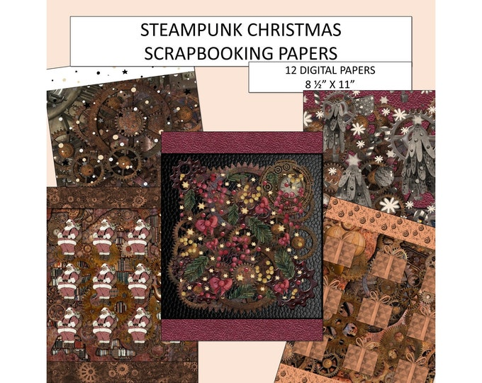 Steampunk Scrapbooking Paper Digital Christmas Paper Scrapbooking Supplies Scrapbook Paper Crafting Paper Scrapbooking Bundle