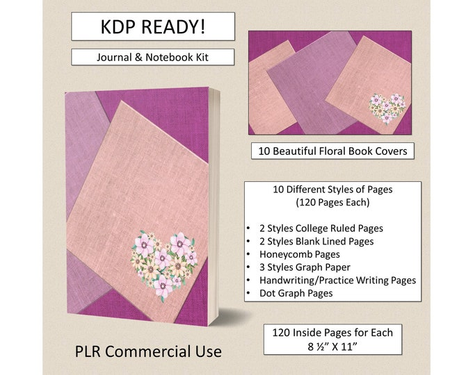 Complete PLR KDP Kit Journal Notebook Templates 10 Book Cover Instant Download Ready to Upload Low Content Publishing KDP Kindle Publishing