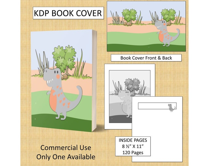 Dinosaur Kids KDP Book Cover Kindle Cover Template KDP Cover Premade Book Covers Amazon Book Covers Digital Book Cover Commercial Use