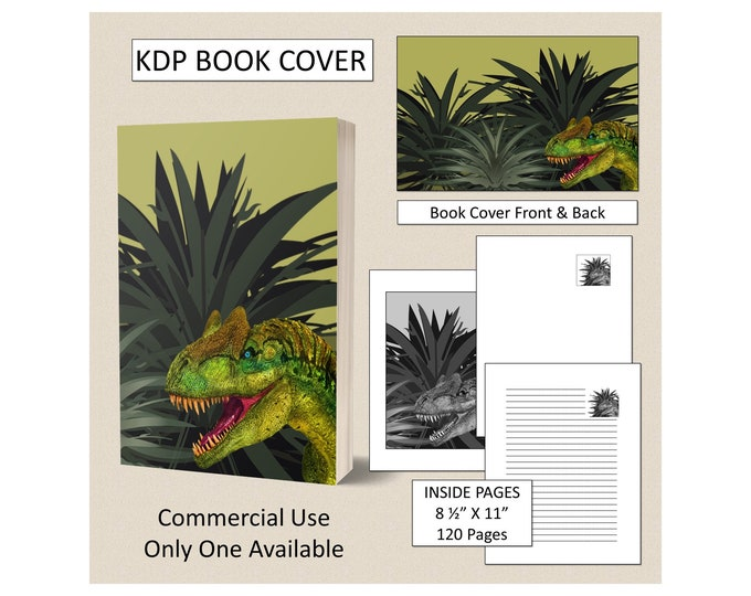 Dinosaur Book Cover KDP Book Cover Kindle Cover Template KDP Cover Premade Book Covers Amazon KDP Book Covers Digital Book Cover