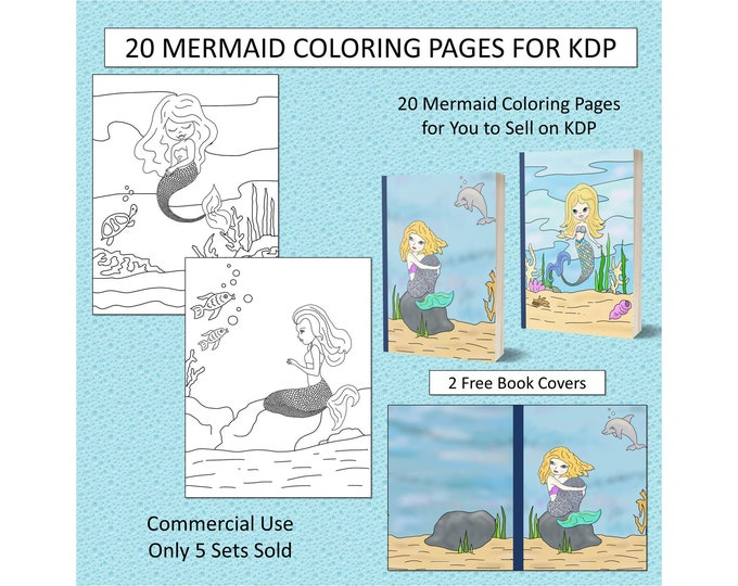 20 Mermaid Theme Coloring Pages For KDP Commercial Use Mermaid Coloring Pages