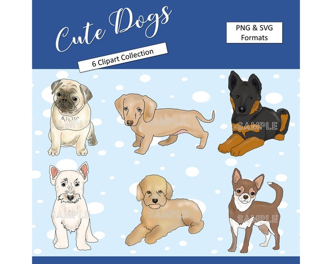 Cute Dogs SVG Printable Dogs Clipart Kids Graphics Puppy Elements Party Printable Cute Dogs Decoration Commercial Use Instant Download
