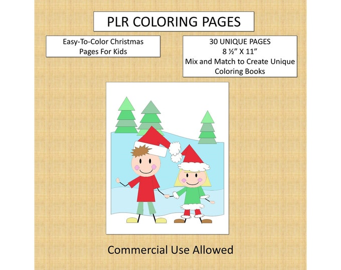 30 Easy Christmas Coloring Pages With Full PLR Rights Private Label Rights Kids Coloring Pages Original Easy Christmas Elves Pattern Designs