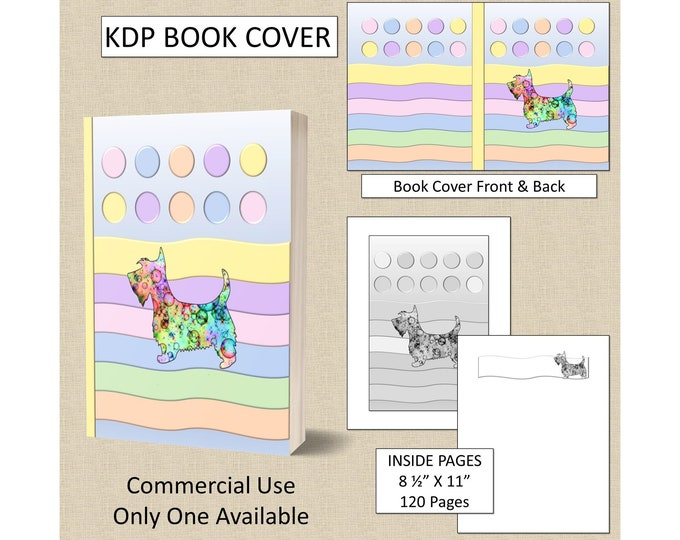 Colorful Scottie Dog Book Cover KDP Book Cover Kindle Cover Template