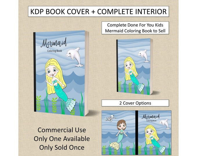 Kids Mermaid Coloring Book Cover Design + Interior Premade Book For KDP Publishers Amazon Book Plus Interior Kindle Template KDP Covers