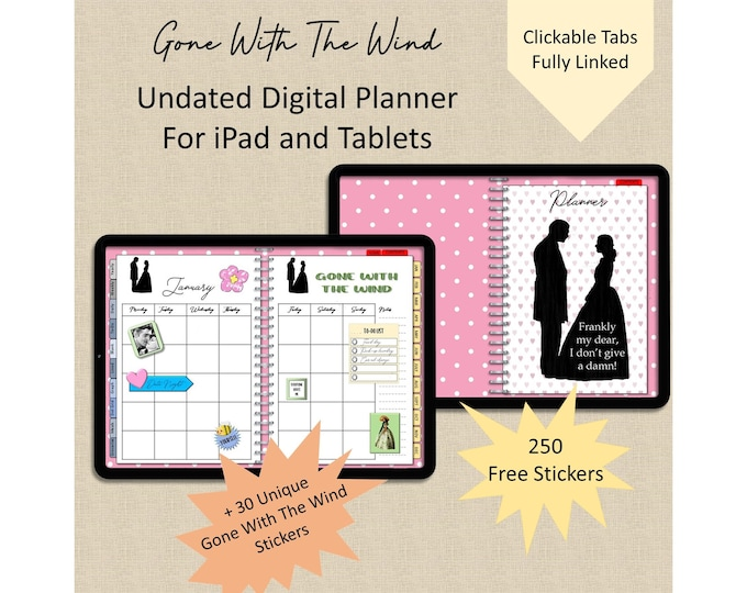 Gone With The Wind Undated Planner GoodNotes Planner Digital Notebook Notability Digital Planner  + 250 Free Sticker & 30 GWTW Stickers