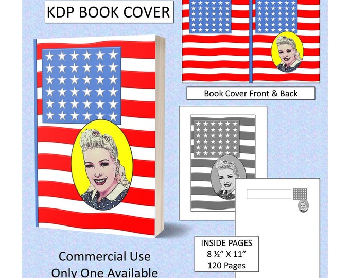 American Flag 50's Old School Style Book Cover Design