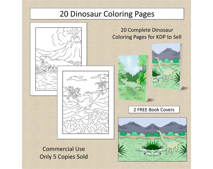 20 Dinosaur Coloring Pages For KDP Commercial Use Dino Coloring Pages