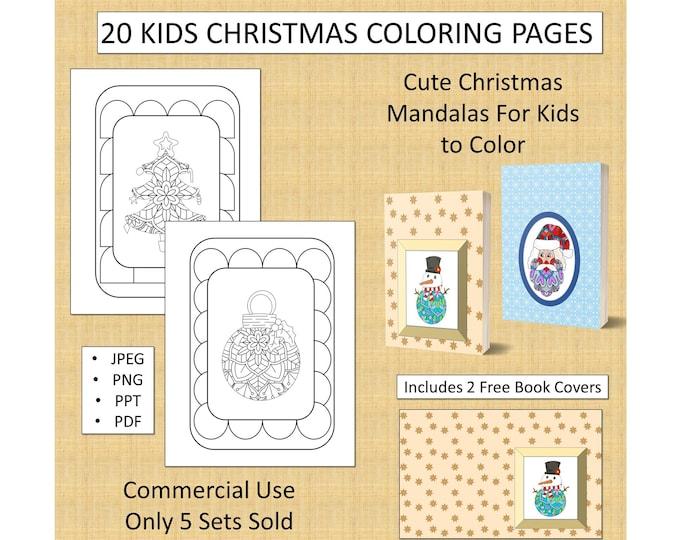 20 Kids Christmas Mandala Coloring Pages (Set 1) For KDP Commercial Use Christmas Coloring Pages