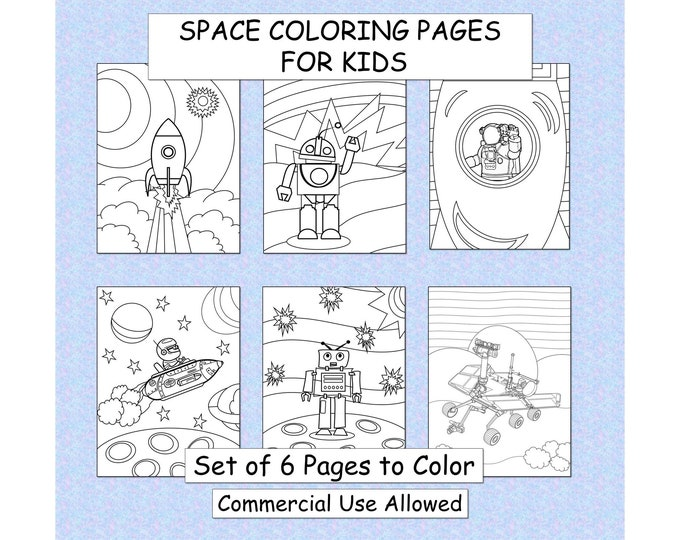 Outer Space Lovers Coloring Pages PDF Instant Download Printable Coloring Pages Activities Boys Birthday Party  Kids Coloring Pages