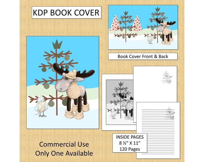 Christmas Moose KDP Book Cover Kindle Cover Template KDP Cover Premade Book Covers Amazon Book Covers Digital Book Cover Commercial Use