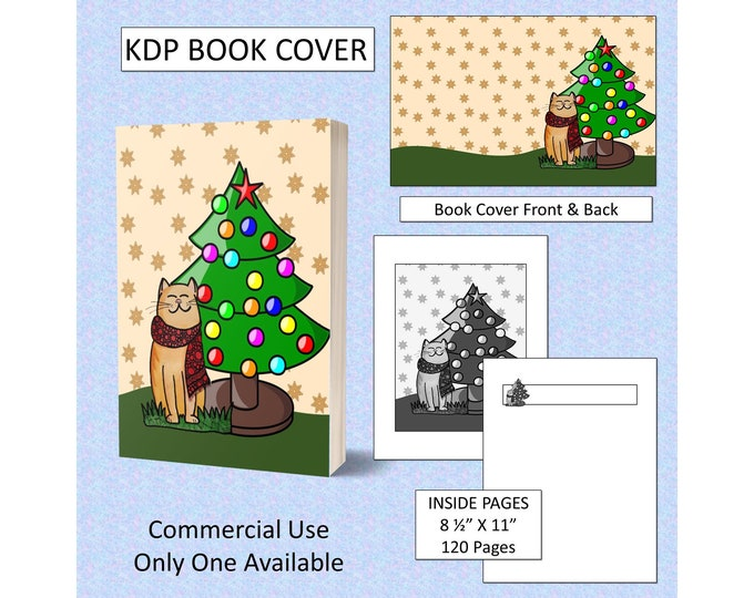Christmas Cat KDP Book Cover Kindle Cover Template KDP Cover Premade Book Covers Amazon Book Covers Digital Book Cover Commercial use
