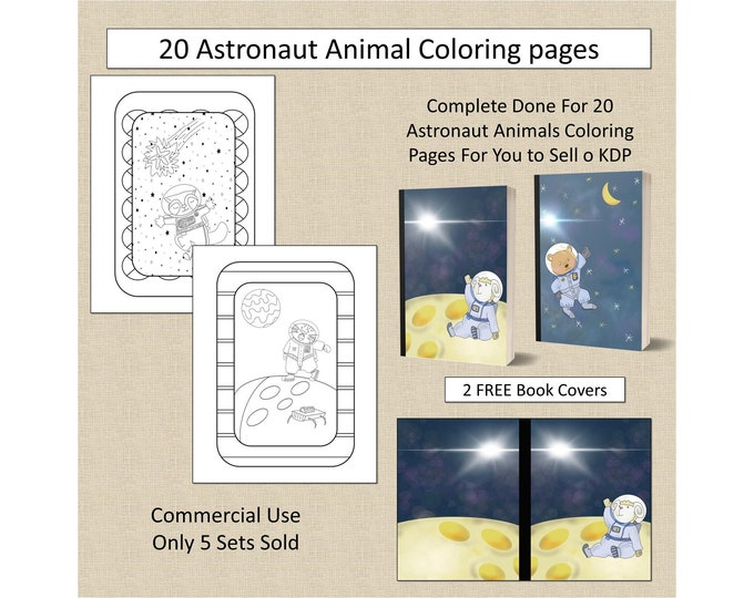 20 Astronaut Animals Coloring Pages For KDP Commercial Use Cute Astronaut Animals Coloring Pages