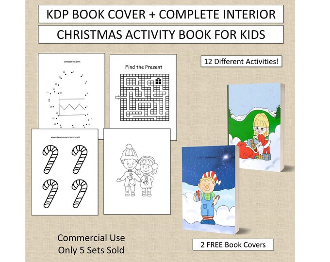 Complete Christmas Activity Book Cover Design + Interior Premade Book For KDP Publishers Kids Christmas Activity Book for KDP Commercial Use