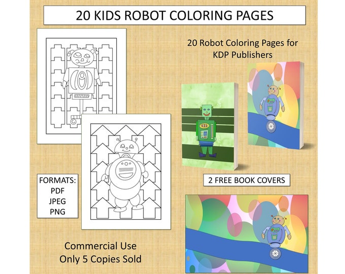 20 Robot Theme Coloring Pages (Set 1) For KDP Commercial Use Robot Coloring Pages