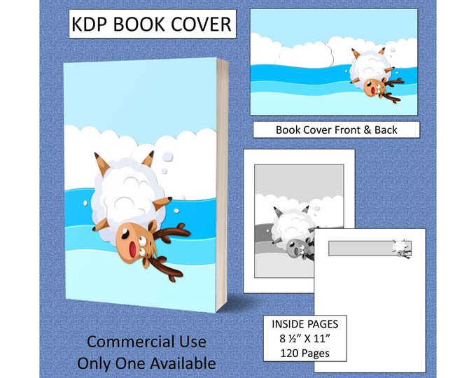 Christmas Reindeer KDP Book Cover Kindle Cover Template KDP Cover Premade Book Covers Amazon Book Covers Digital Book Cover Commercial Use