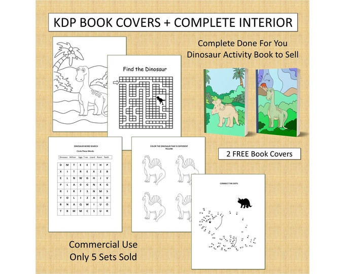 Complete Dinosaur Activity Book Cover Design + Interior Premade Book For KDP Publishers Amazon Book Kindle Template KDP Cover Commercial Use