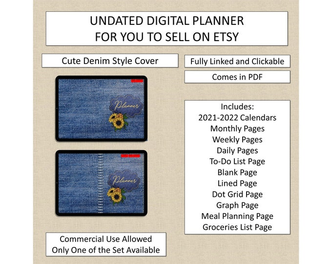 Denim Style Undated Digital Planner Hyper-linked Home Office Clickable Landscape Format for Etsy Sellers Digital Notebook Journal to Sell