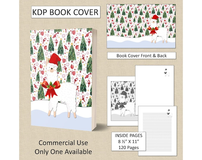 Christmas Llama Cover Design KDP Book Cover Kindle Cover Template KDP Cover Premade Book Covers Amazon KDP Book Covers