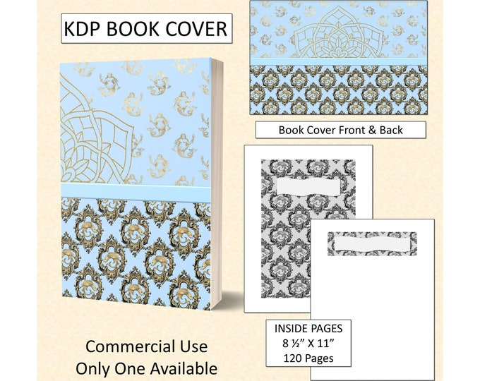 Light Blue and Gold Mermaid Theme Book Cover Design
