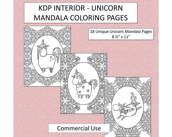 18 Unicorn Mandala Coloring Pages With Full Commercial Use Kids Coloring Pages Original Mandala Pattern Designs Kids Unicorn Coloring Book