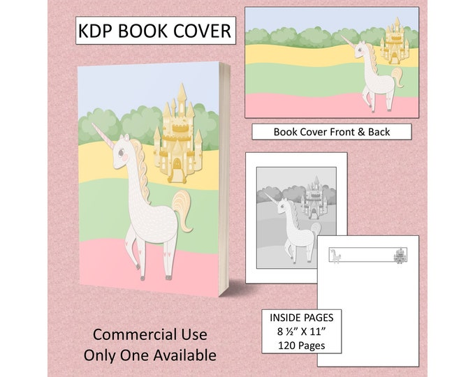 Cute Unicorn Book Cover KDP Book Cover Template KDP Cover For KDP Premade Book Covers Kids Book Covers Commercial Use