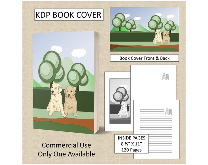 Cute Puppies Cover Design KDP Book Cover Kindle Cover Template KDP Cover Premade Book Covers Amazon KDP Book Covers Digital Book Cover