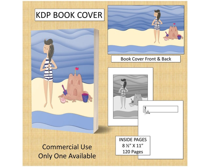 Beach Scene Book Cover Design Premade KDP Book Cover Kindle Cover Template Digital Book Covers for KDP Publishing DIY Book Covers