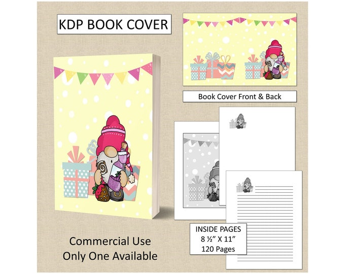 Gnome Birthday Cover Design KDP Book Cover Kindle Cover Template KDP Cover Premade Book Covers Amazon KDP Book Covers Digital Book Cover