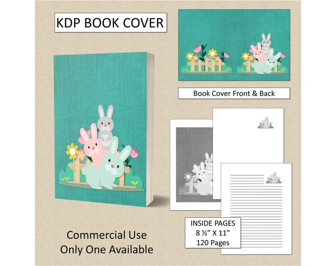 Bunny Garden Cover Design KDP Book Cover Kindle Cover Template KDP Cover Premade Book Covers Amazon KDP Book Covers Digital Book Cover