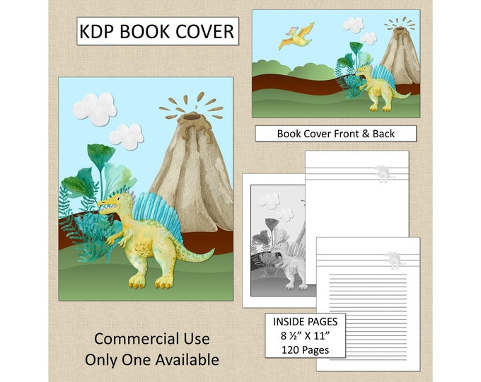Kids Dinosaur Cover Design KDP Book Cover Kindle Cover Template KDP Cover Premade Book Covers Amazon KDP Book Covers Digital Book Cover